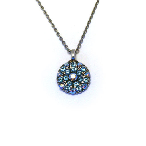 Mariana Angel Pendant: blue a/b center, blue and a/b stones in silver setting