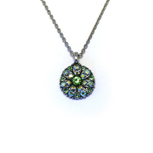 Mariana Angel Pendant: green center, green and a/b stones in silver setting
