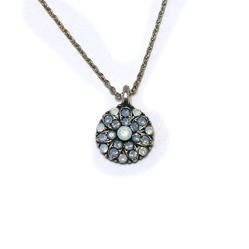 Mariana Angel Pendant: white center, light blue and white stones in silver setting