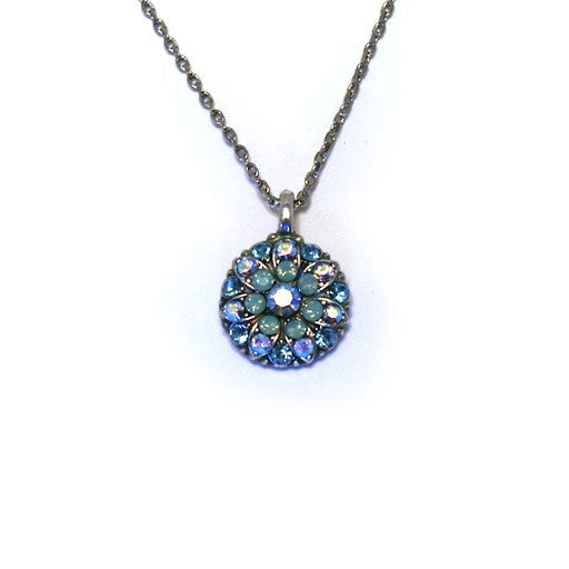 Mariana Angel Pendant: blue a/b center, light green plus blue and a/b stones in silver setting