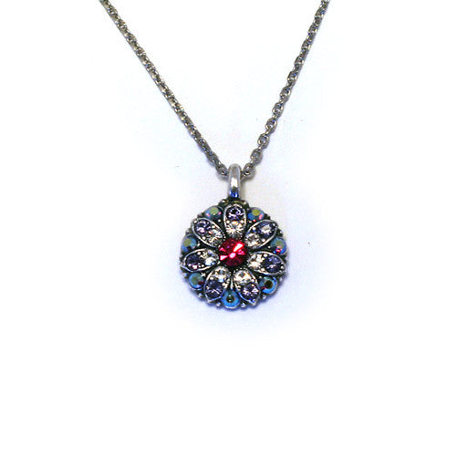 Mariana Angel Pendant: fuchsia center, clear, lavender and a/b stones in silver setting