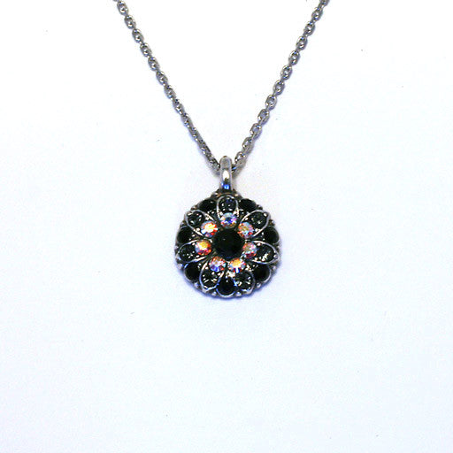 Mariana Angel Pendant: black center, hemitite, black and a/b stones in silver setting