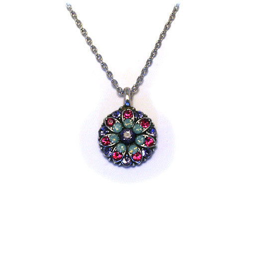 Mariana Angel Pendant: purple center, teal, fuchsia and lavender stones in silver setting