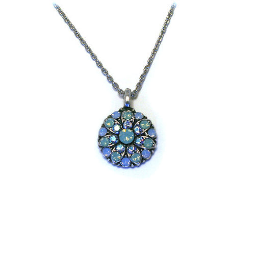 Mariana Angel Pendant: light teal center, teal and blue a/b stones in silver setting