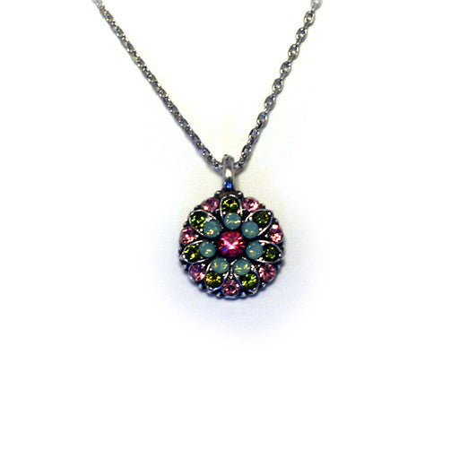 Mariana Angel Pendant: fuchsia center, teal, green and pink stones in silver setting
