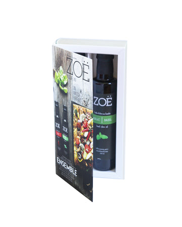 Zoë Cookbook Gift Box: Chili & Basil Extra Virgin Olive Oil