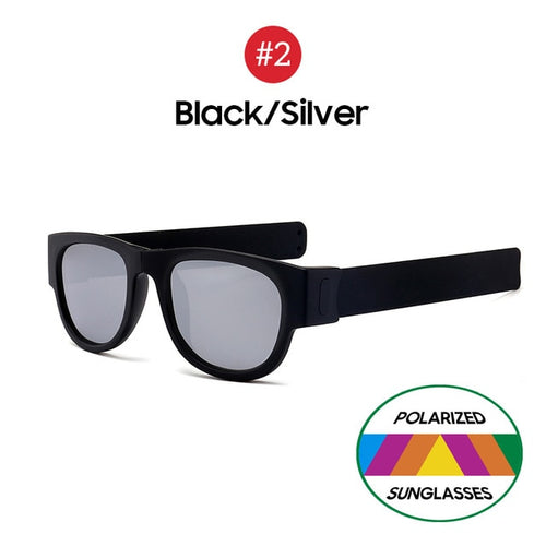 VIVIBEE Novelty Mirror Men Polarized Folding Sunglasses New Arrival Slap Sport Foldable Wristband Shades 2020 Trend Product