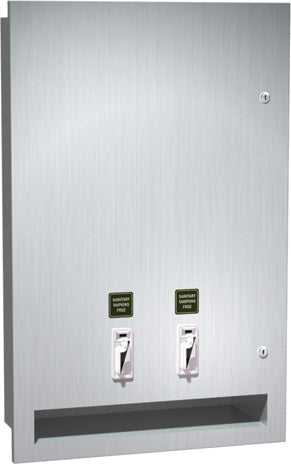 ASI 0468-2 | American Specialties Sanitary Napkin and Tampon Dispenser, Semi-Recessed