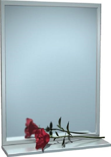 "ASI 0605 | American Specialties 18"" x 30"" Angle Frame Plate Glass Mirror w-Shelf"