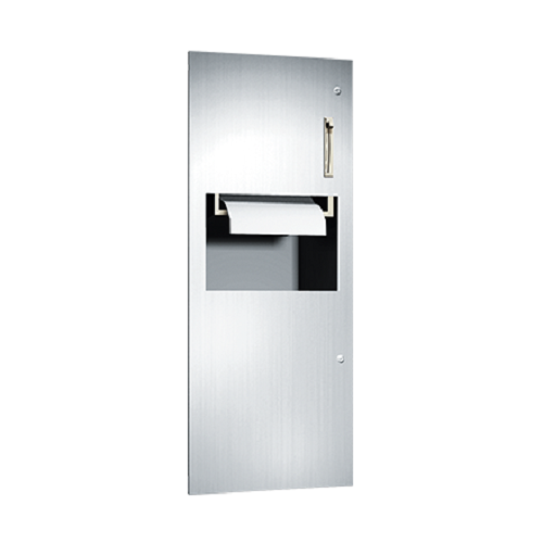 ASI 64696 | American Specialties Lever Operated Roll Paper Towel Dispenser and Waste Receptacle, Recessed