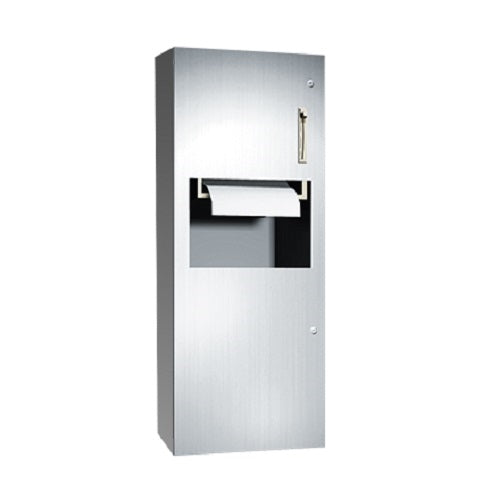 ASI 64696-9 | American Specialties Lever Operated Roll Paper Towel Dispenser and Waste Receptacle, Surface Mounted