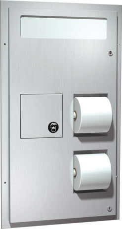 ASI 0482 | American Specialties Toilet Seat Cover & Toilet Tissue Dispensers w-Napkin Disposal, Recessed