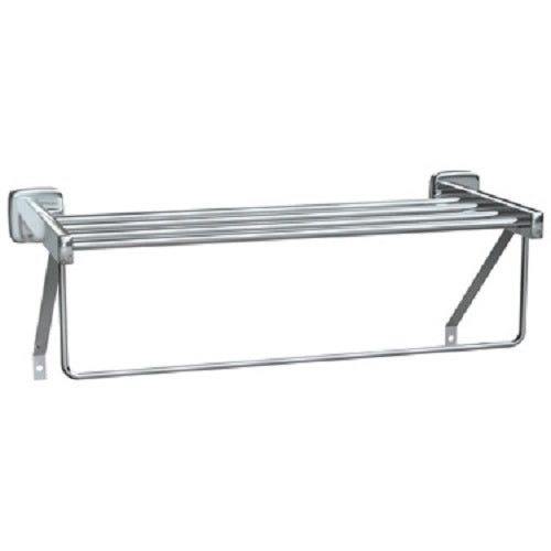 "ASI 7310-18B | American Specialties 18"" Towel Shelf with Drying Rod, Bright"