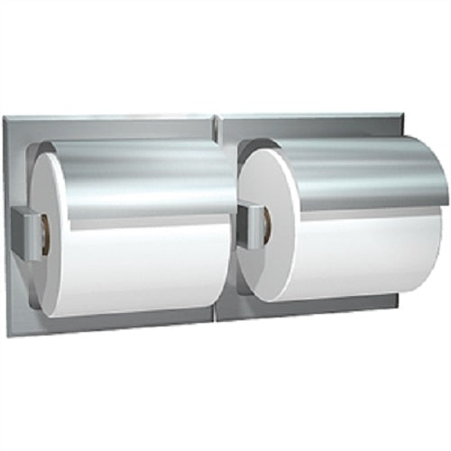 ASI 74022-HSD | American Specialties Double Toilet Paper Holder w-Hood, Satin Finish, Drywall, Recessed