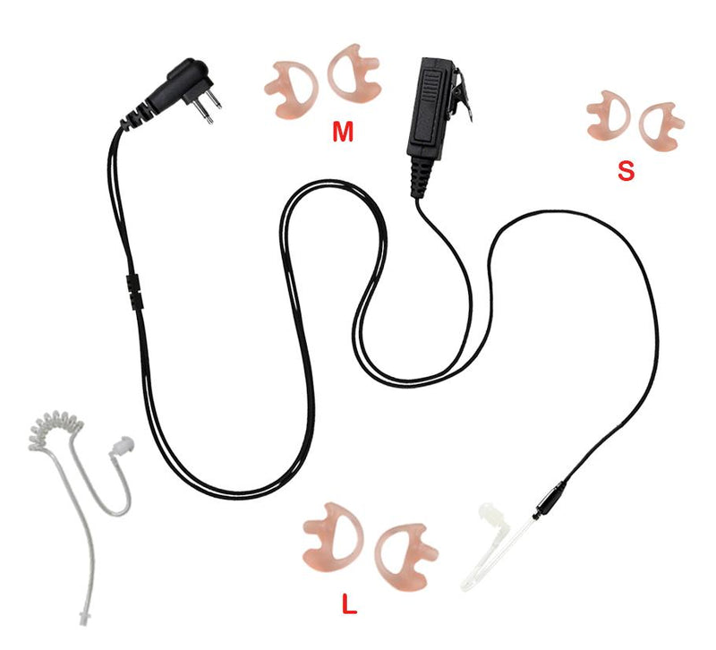 Maxtop ASK8000PRO-M1 2-Wire Straight Clear Tube Headset w PTT for Motorola Mototrbo CP200 CP200D Bearcom BC10 BC20 BC130