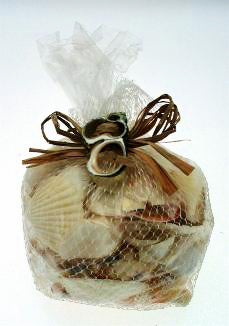 SA06W Assorted White SeaShells in Mesh Net Bag - 600 grams