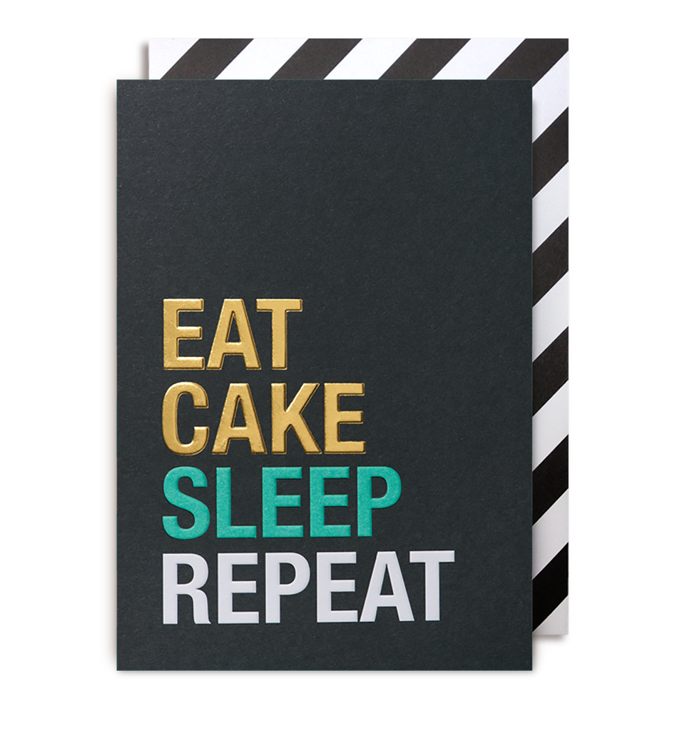 East Cake, Sleep, Repeat Greeting Card - Lagom Design