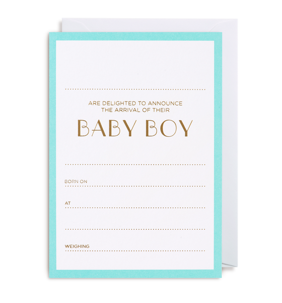 Baby Boy Announcement Notecard - Lagom Design