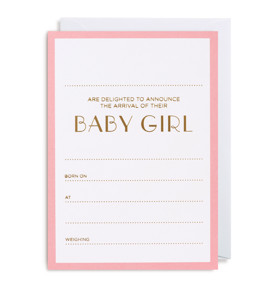 Baby Girl Announcement Notecard - Lagom Design