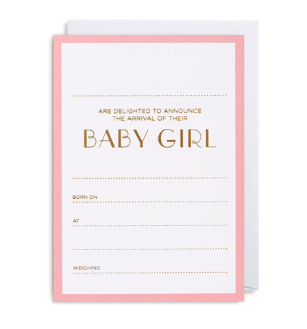 Baby Girl Announcement Notecard