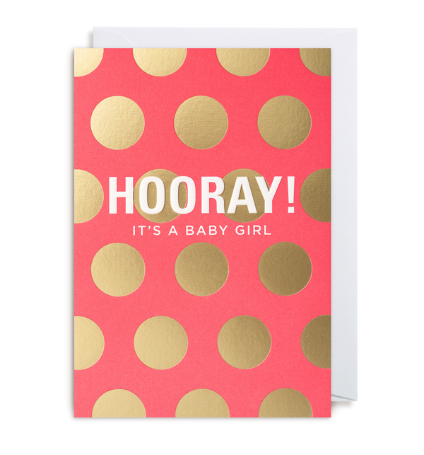 Hooray! It's A Girl Greeting Card - Lagom Design