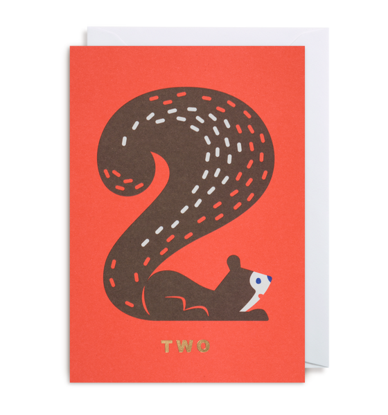 Number Two Squirrel Greeting Card - Lagom Design