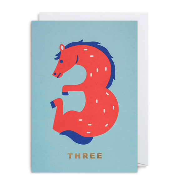 Number Three Horse Greeting Card