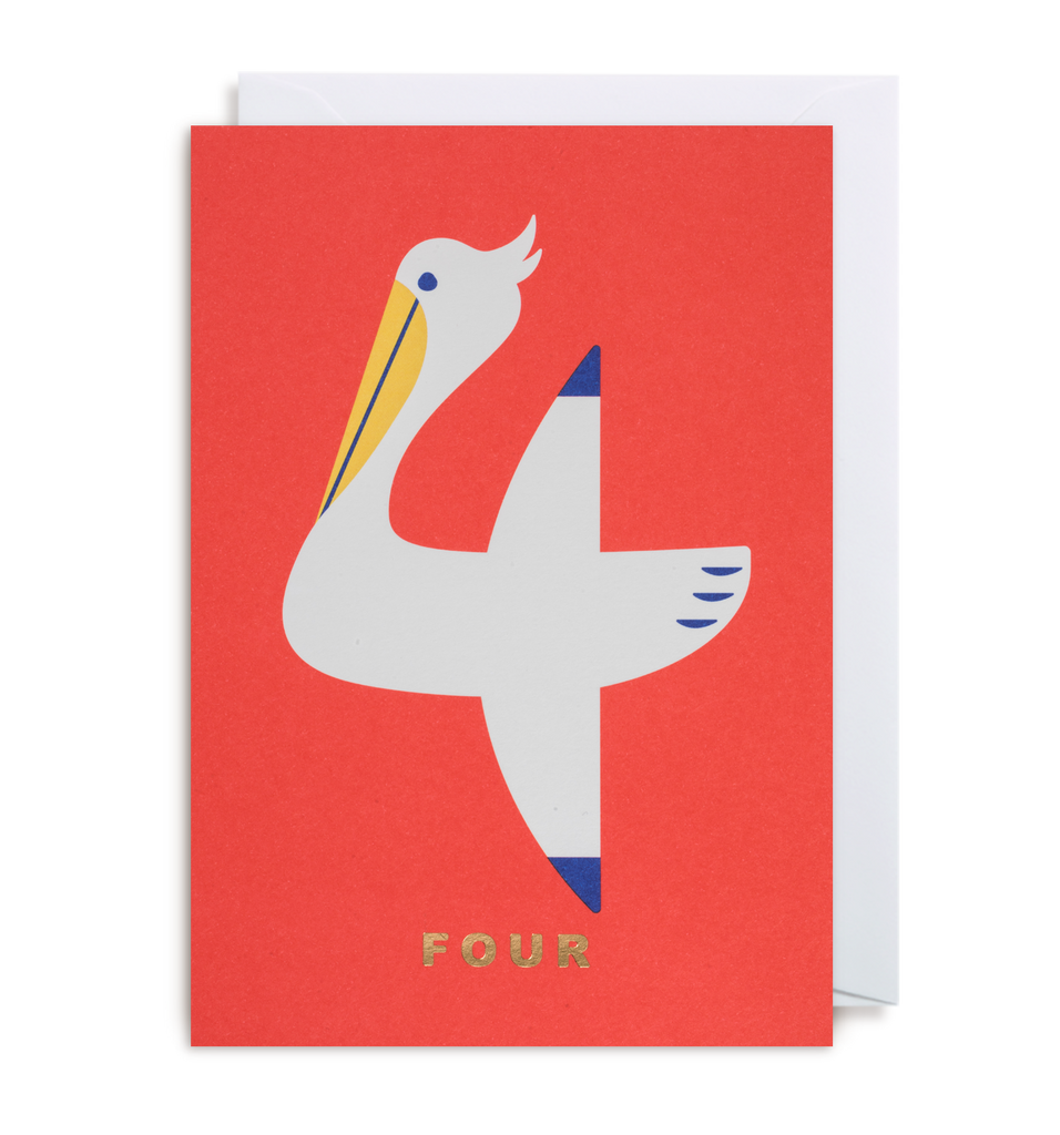 Number Four Pelican Greeting Card - Lagom Design