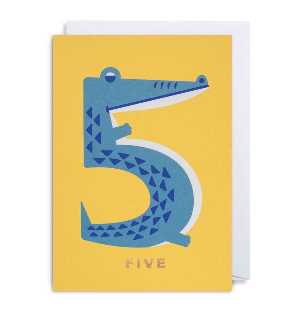 Number Five Crocodile Greeting Card