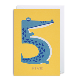 Number Five Crocodile Greeting Card - Lagom Design