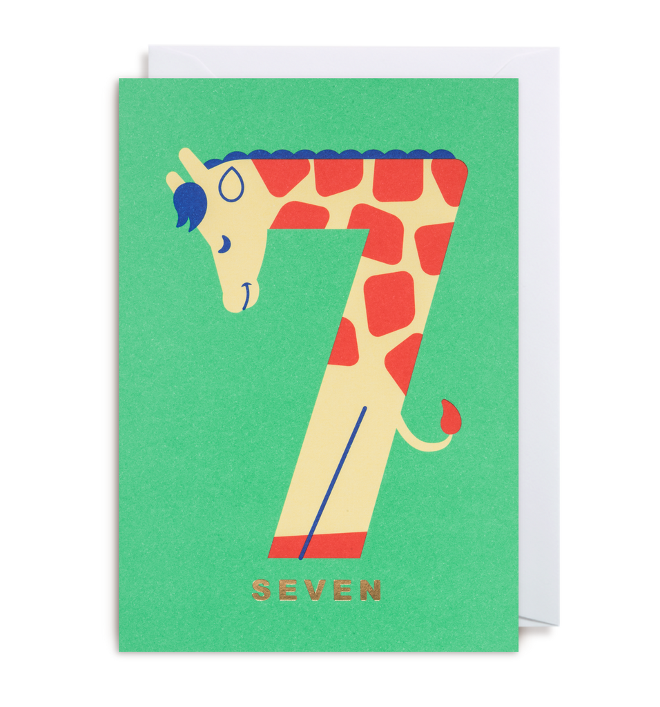 Number Seven Giraffe Greeting Card