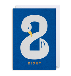 Number Eight Swan Greeting Card - Lagom Design