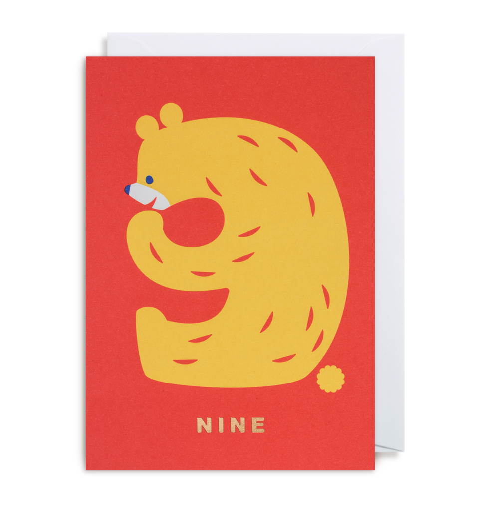 Number Nine Bear Greeting Card