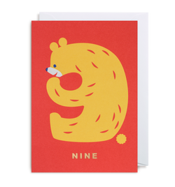 Number Nine Bear Greeting Card - Lagom Design