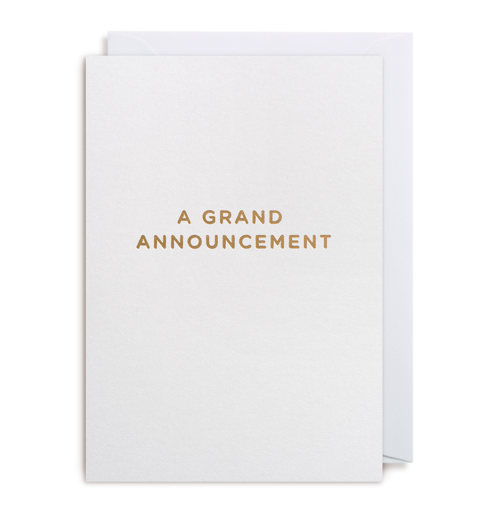 A Grand Announcement Notecard - Lagom Design