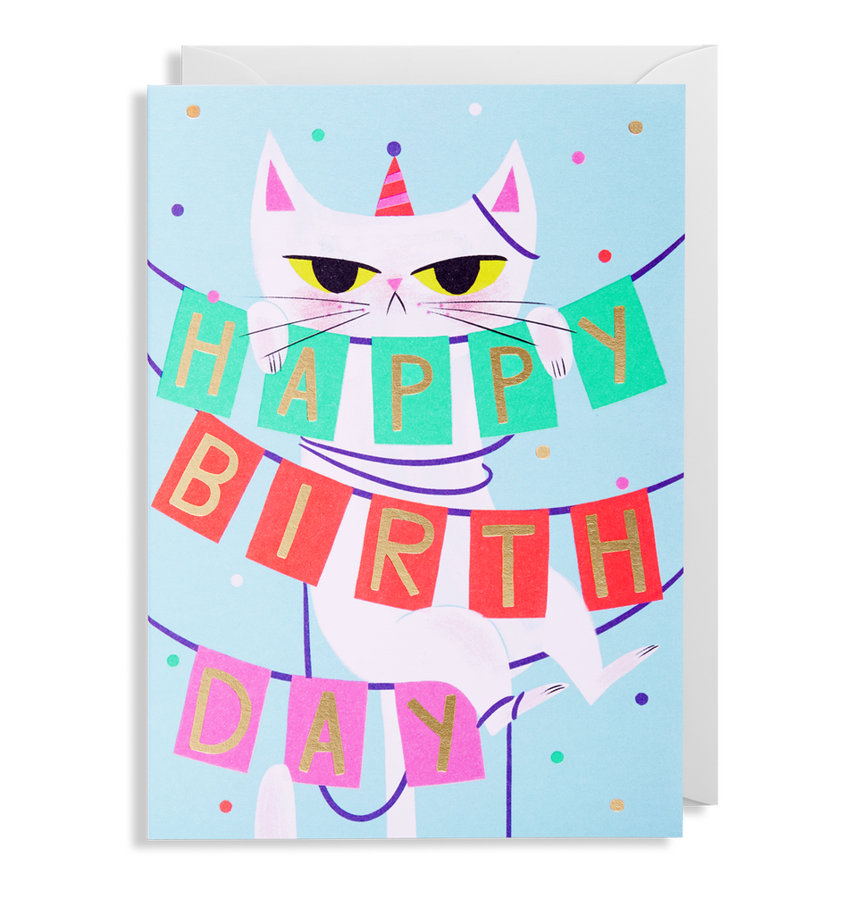 Birthday Banner Cat Greeting Card - Lagom Design