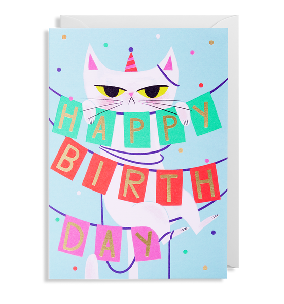 Birthday Banner Cat Greeting Card