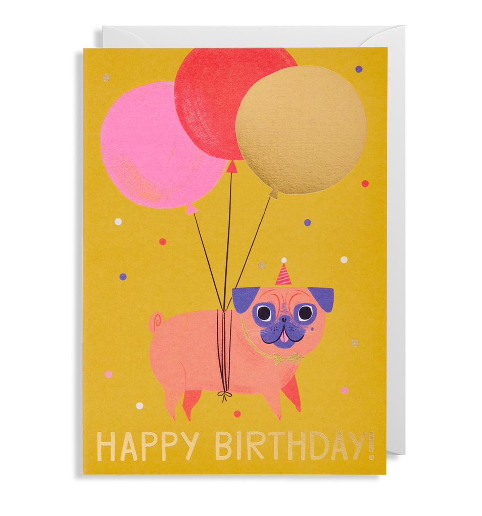 Pug Birthday Greeting Card