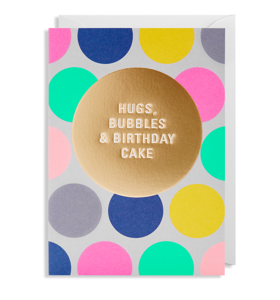 Hugs, Bubbles & Birthday Cake Greeting Card