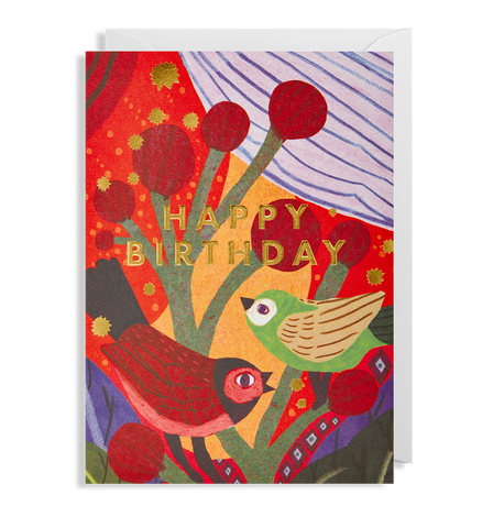 Happy Birthday Birds Greeting Card