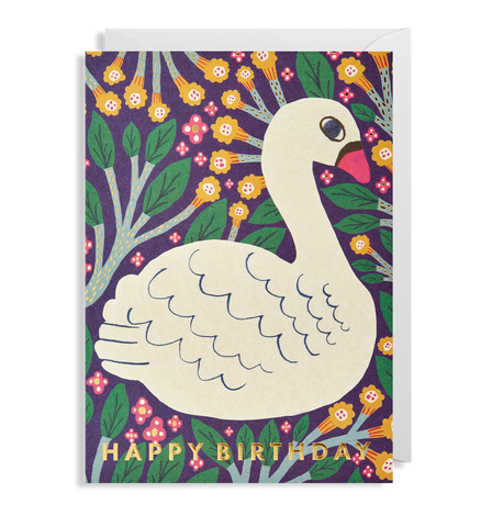 Happy Birthday Swan Greeting Card