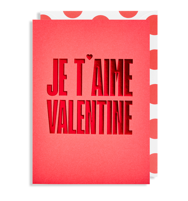 Je T'Aime Valentine Greeting Card - Lagom Design