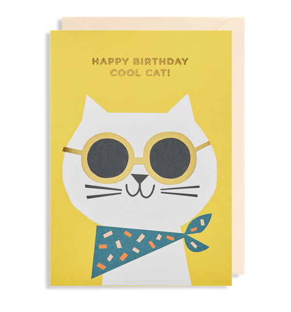 Happy Birthday Cool Cat Greeting Card - Lagom Design