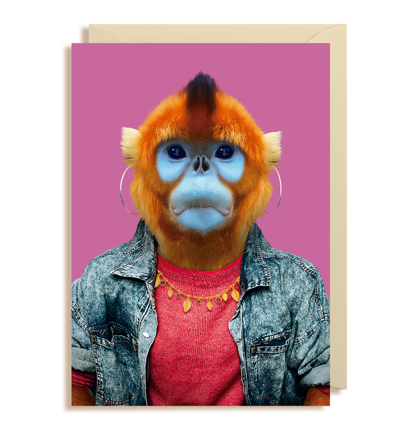 Golden Snub-nosed Monkey - Rhinopithecus Roxellana Greeting Card - Lagom Design