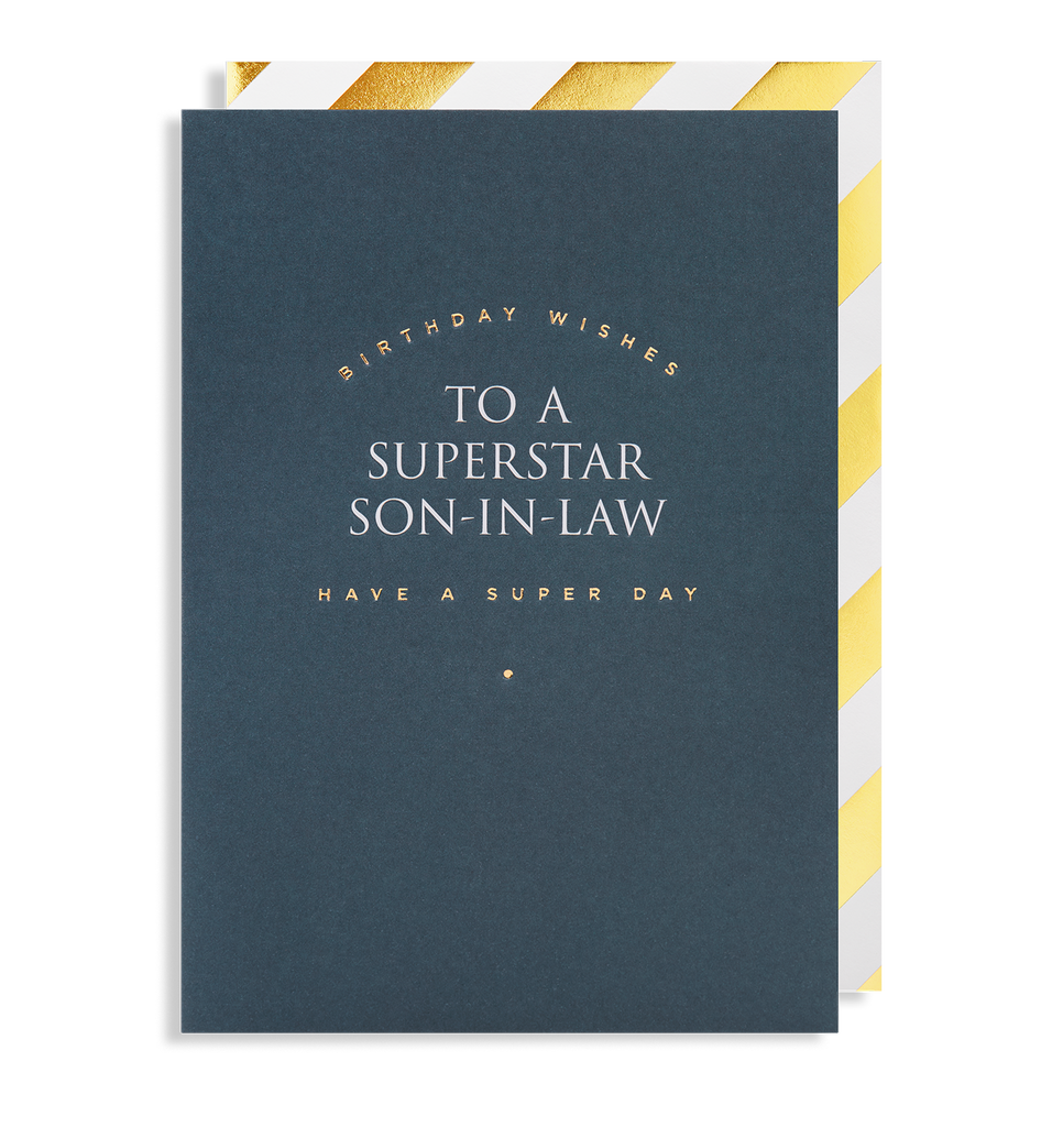 Birthday Wishes To A Superstar Son-in-law Have a Super Day Greeting Card - Lagom Design