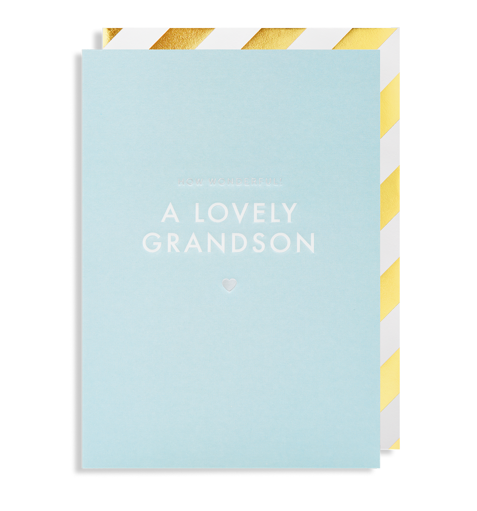 How Wonderful! A Lovely New Grandson Greeting Card - Lagom Design