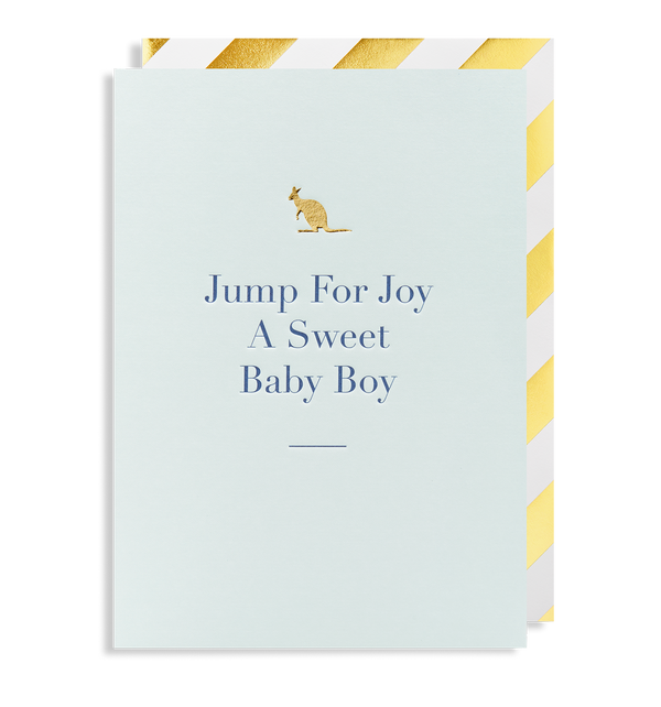 Jump for Joy a Sweet Baby Boy Greeting Card - Lagom Design