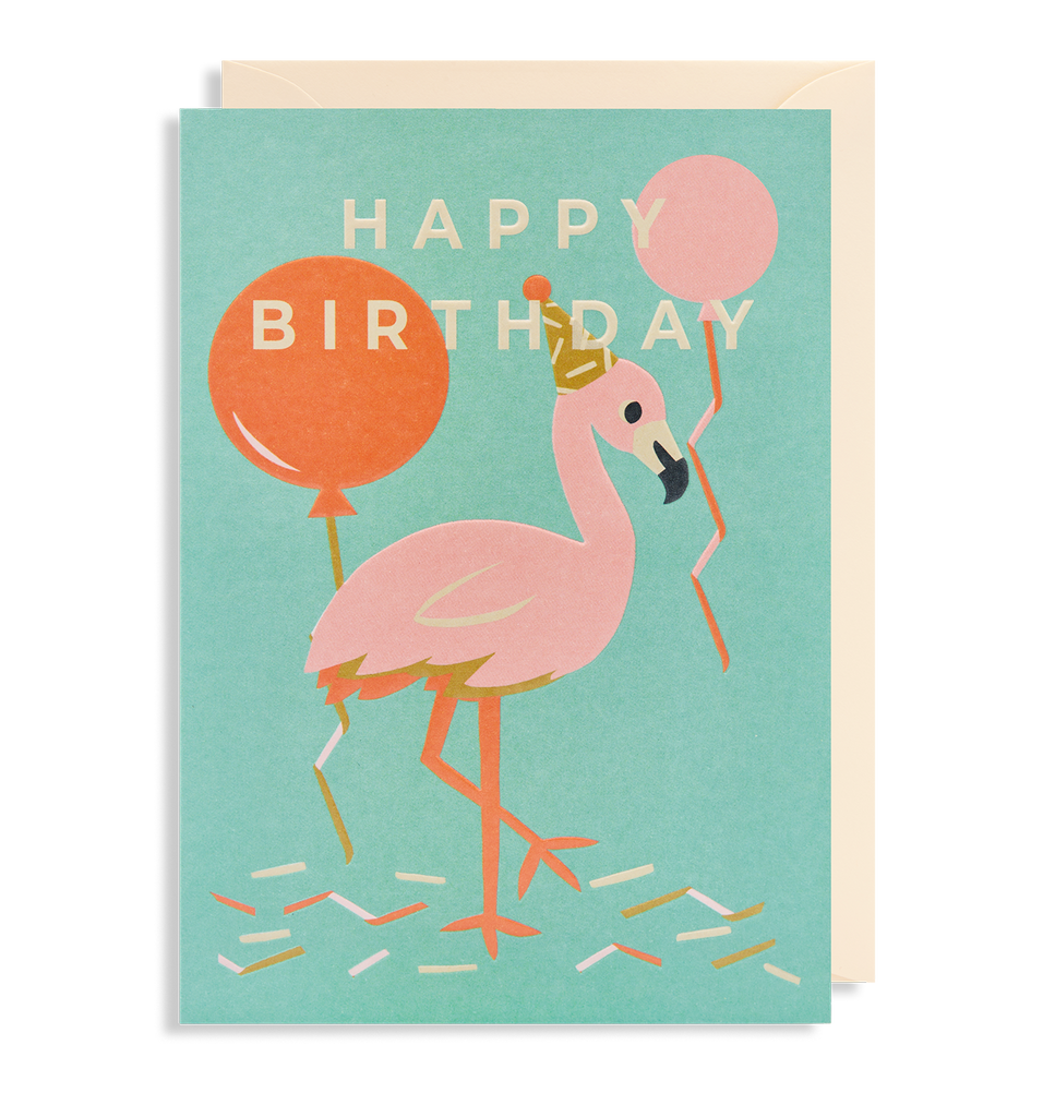 Happy Birthday Flamingo Greeting Card - Lagom Design