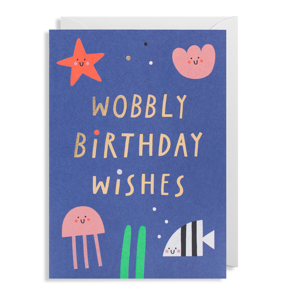 Wobbly Birthday Wishes Greeting Card - Lagom Design