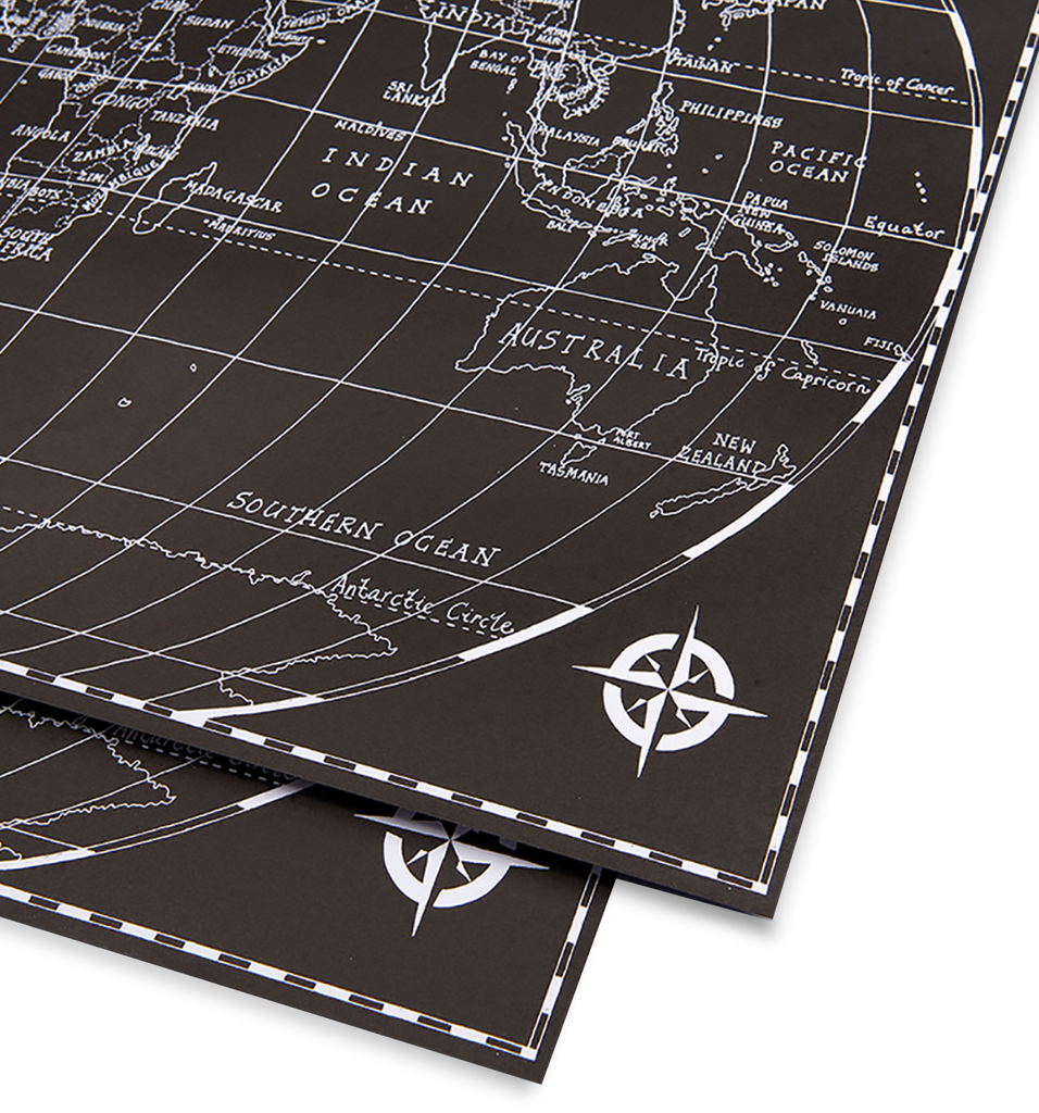 Black World Map Gift Wrap - Lagom Design